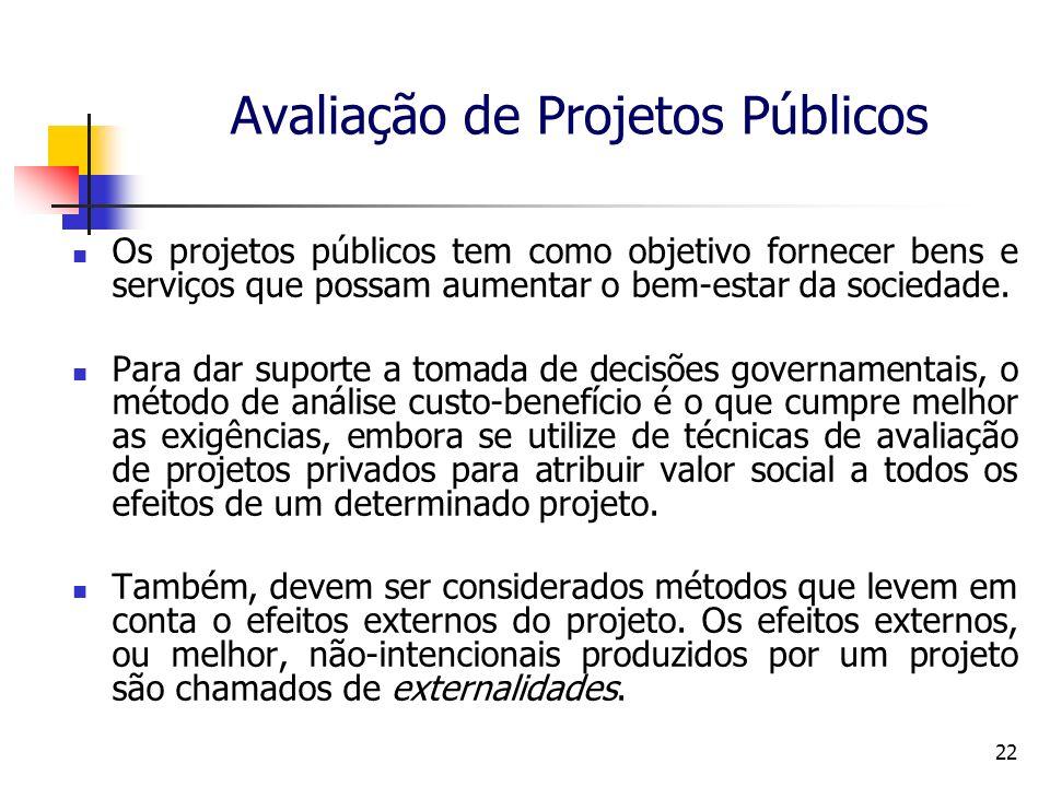 22 Avaliação de Projetos Públicos Os projetos públicos tem como objetivo fornecer bens e serviços que possam aumentar o bem-estar da sociedade. Para d