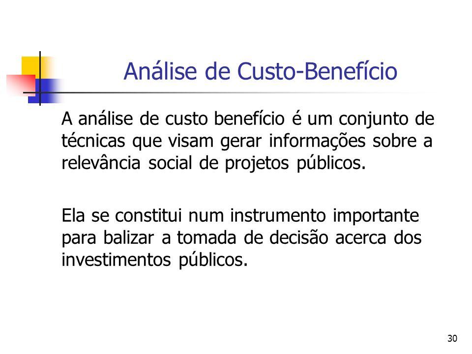 30 Análise de Custo-Benefício A análise de custo benefício é um conjunto de técnicas que visam gerar informações sobre a relevância social de projetos