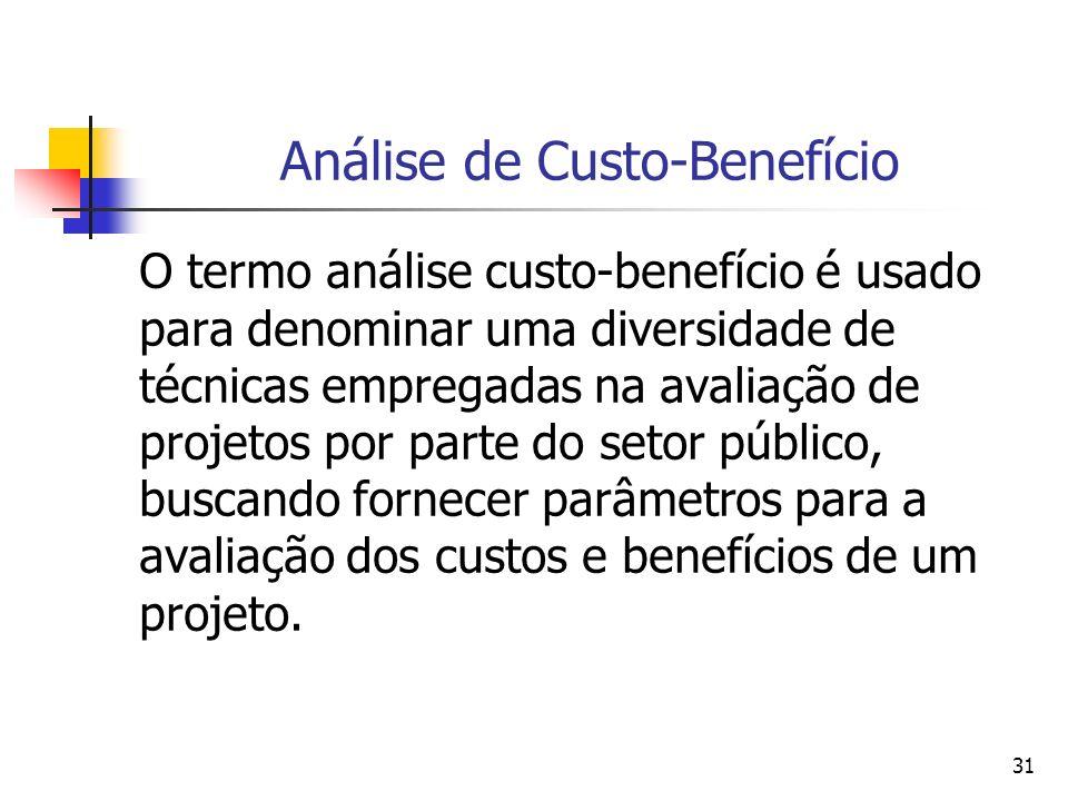 31 Análise de Custo-Benefício O termo análise custo-benefício é usado para denominar uma diversidade de técnicas empregadas na avaliação de projetos por parte do setor público, buscando fornecer parâmetros para a avaliação dos custos e benefícios de um projeto.