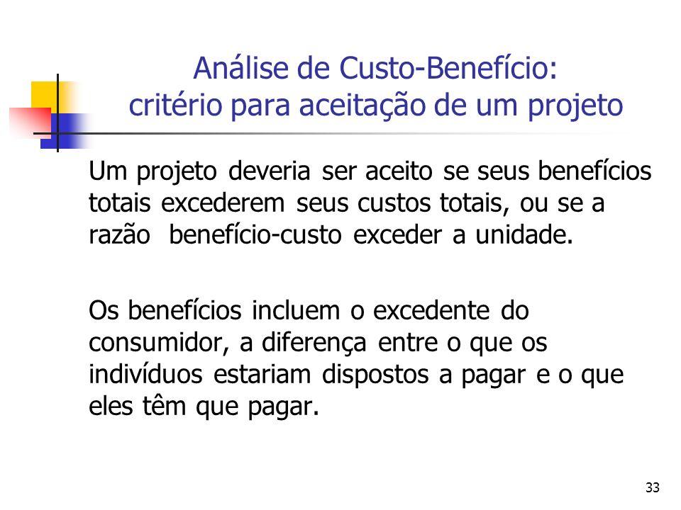 33 Análise de Custo-Benefício: critério para aceitação de um projeto Um projeto deveria ser aceito se seus benefícios totais excederem seus custos totais, ou se a razão benefício-custo exceder a unidade.