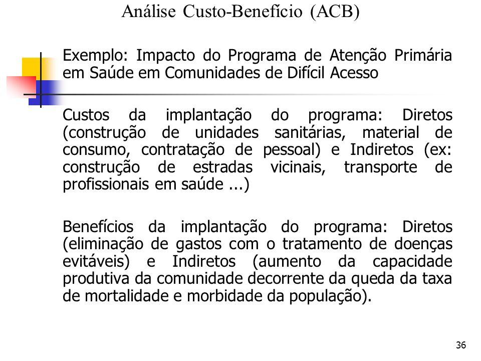36 Exemplo: Impacto do Programa de Atenção Primária em Saúde em Comunidades de Difícil Acesso Custos da implantação do programa: Diretos (construção d