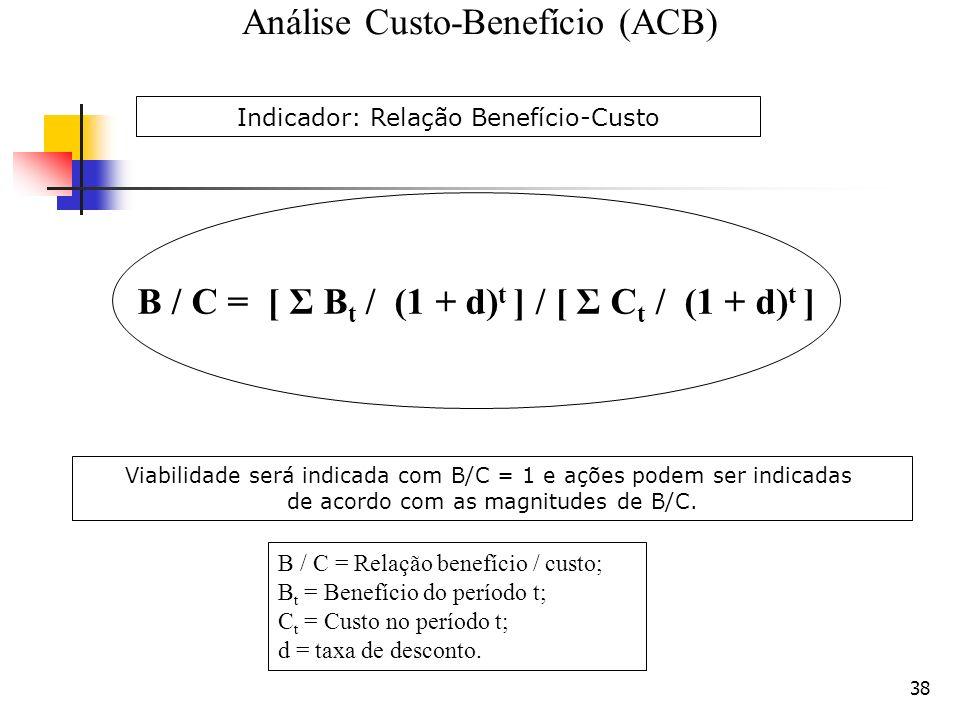 38 B / C = Relação benefício / custo; B t = Benefício do período t; C t = Custo no período t; d = taxa de desconto. B / C = [ Σ B t / (1 + d) t ] / [