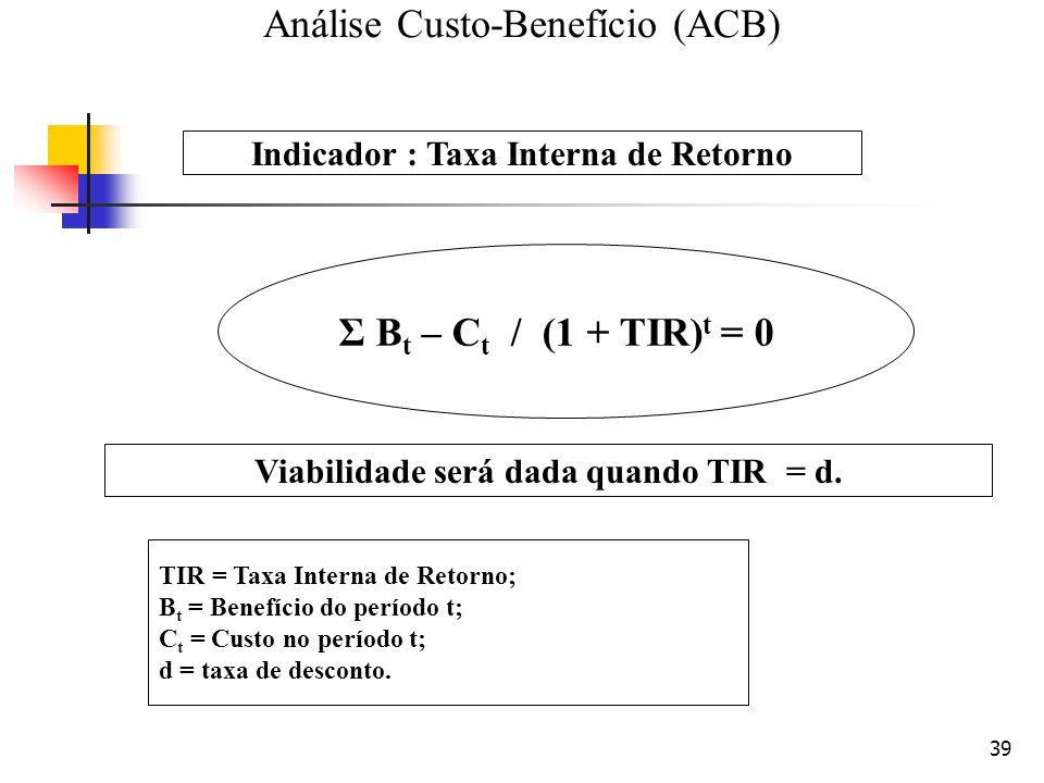 39 TIR = Taxa Interna de Retorno; B t = Benefício do período t; C t = Custo no período t; d = taxa de desconto. Σ B t – C t / (1 + TIR) t = 0 Indicado