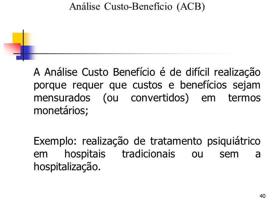 40 A Análise Custo Benefício é de difícil realização porque requer que custos e benefícios sejam mensurados (ou convertidos) em termos monetários; Exemplo: realização de tratamento psiquiátrico em hospitais tradicionais ou sem a hospitalização.