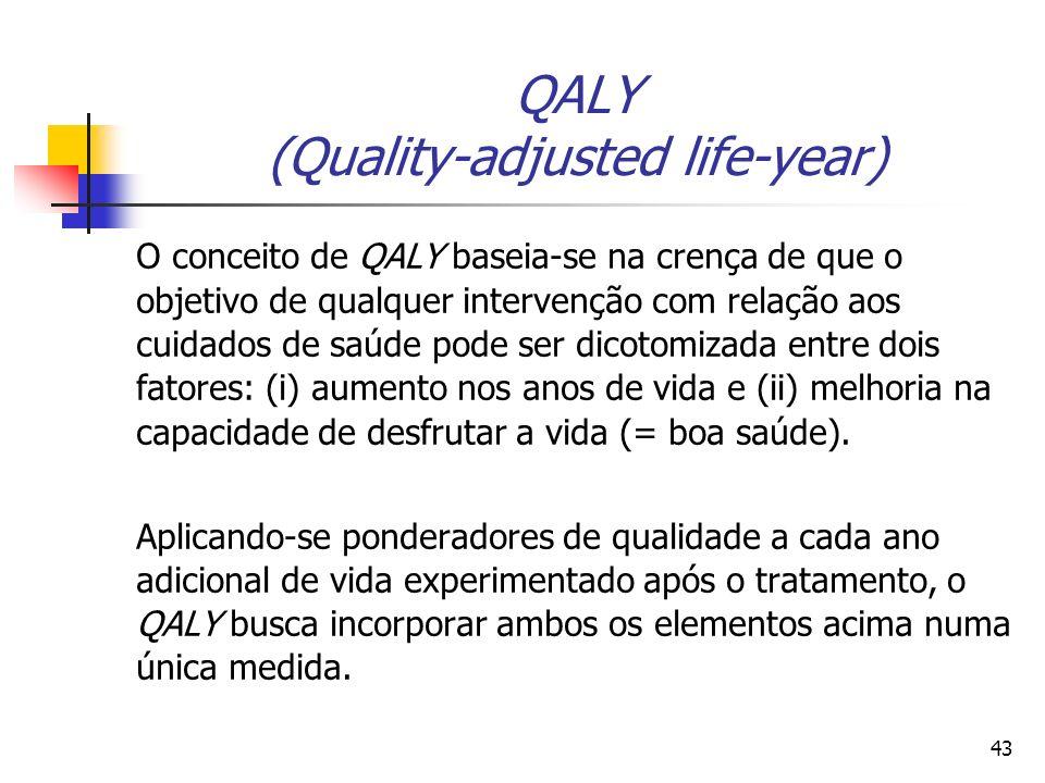 43 QALY (Quality-adjusted life-year) O conceito de QALY baseia-se na crença de que o objetivo de qualquer intervenção com relação aos cuidados de saúde pode ser dicotomizada entre dois fatores: (i) aumento nos anos de vida e (ii) melhoria na capacidade de desfrutar a vida (= boa saúde).