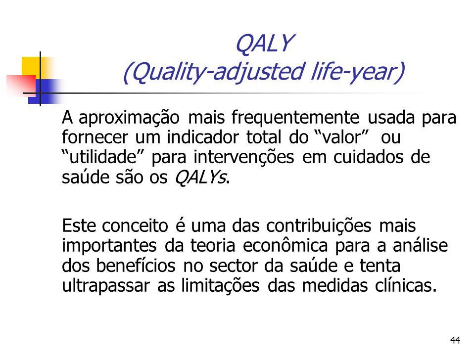 44 QALY (Quality-adjusted life-year) A aproximação mais frequentemente usada para fornecer um indicador total do valor ou utilidade para intervenções em cuidados de saúde são os QALYs.