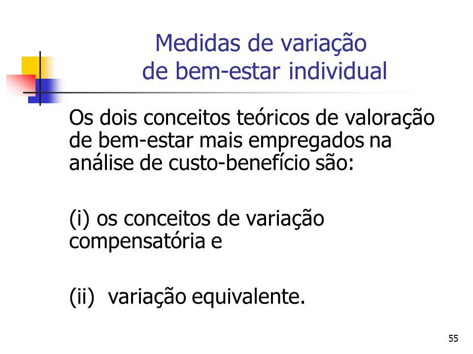 55 Medidas de variação de bem-estar individual Os dois conceitos teóricos de valoração de bem-estar mais empregados na análise de custo-benefício são: (i) os conceitos de variação compensatória e (ii) variação equivalente.