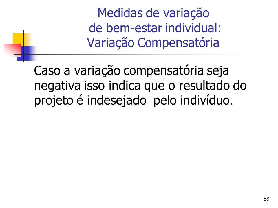 58 Medidas de variação de bem-estar individual: Variação Compensatória Caso a variação compensatória seja negativa isso indica que o resultado do projeto é indesejado pelo indivíduo.