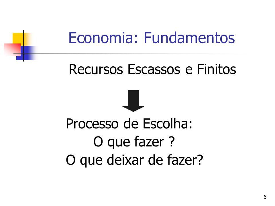 6 Economia: Fundamentos Recursos Escassos e Finitos Processo de Escolha: O que fazer ? O que deixar de fazer?