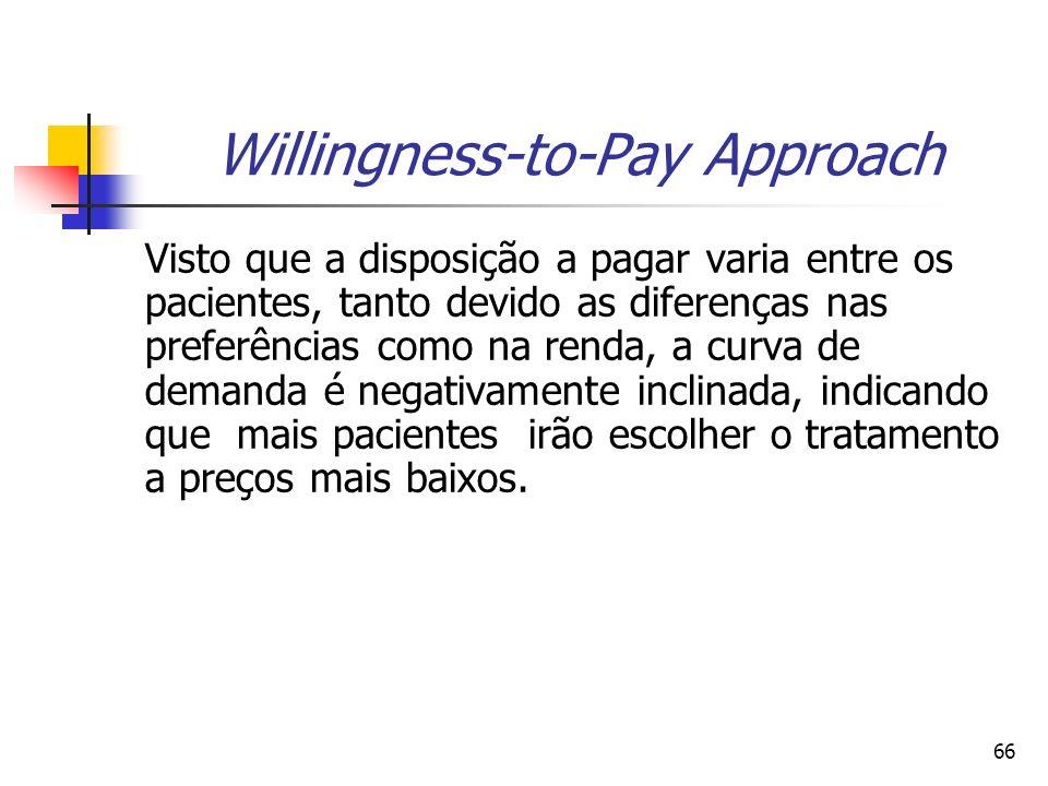 66 Willingness-to-Pay Approach Visto que a disposição a pagar varia entre os pacientes, tanto devido as diferenças nas preferências como na renda, a c