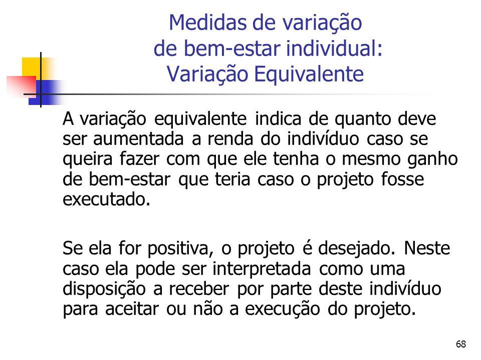 68 Medidas de variação de bem-estar individual: Variação Equivalente A variação equivalente indica de quanto deve ser aumentada a renda do indivíduo c