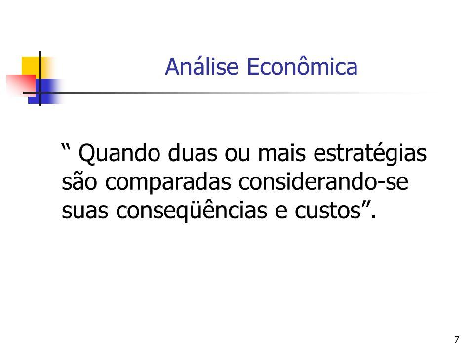 7 Análise Econômica Quando duas ou mais estratégias são comparadas considerando-se suas conseqüências e custos.