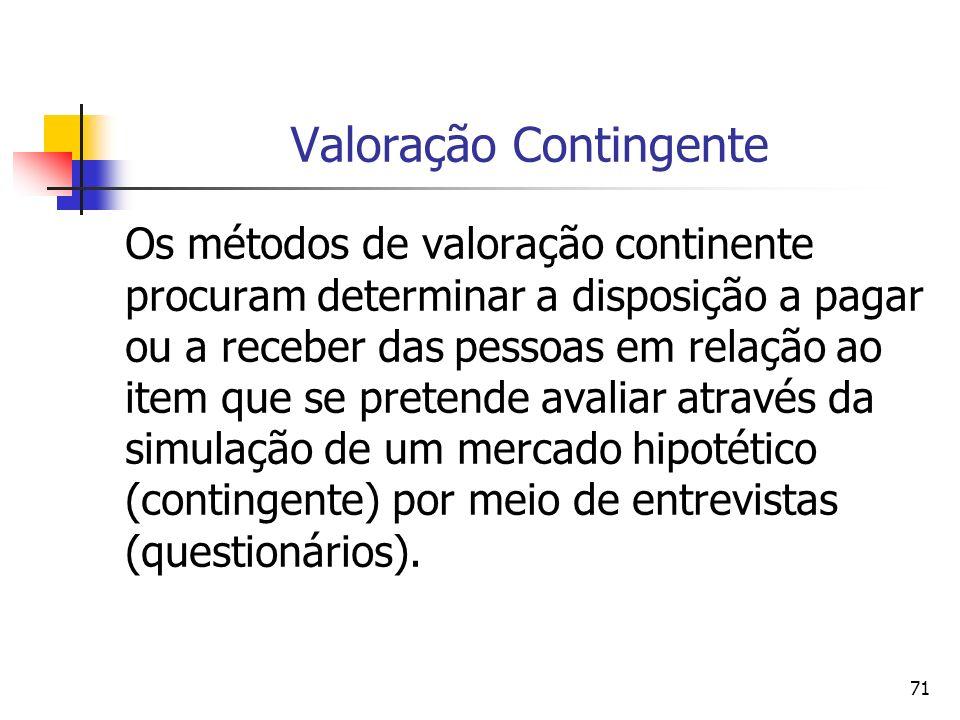 71 Valoração Contingente Os métodos de valoração continente procuram determinar a disposição a pagar ou a receber das pessoas em relação ao item que s