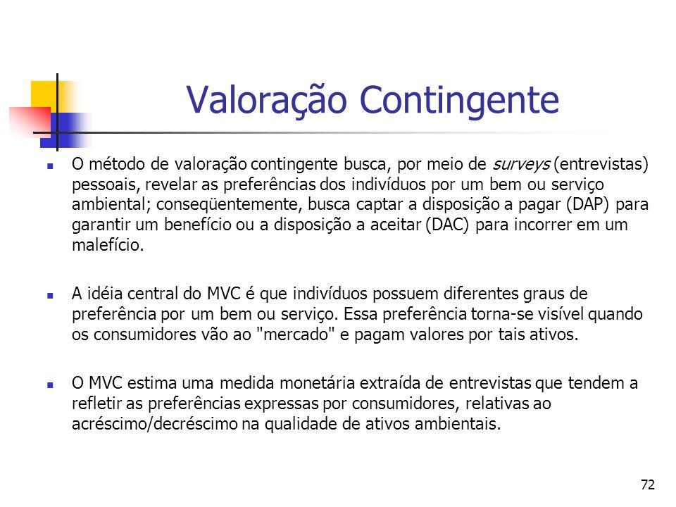 72 Valoração Contingente O método de valoração contingente busca, por meio de surveys (entrevistas) pessoais, revelar as preferências dos indivíduos p