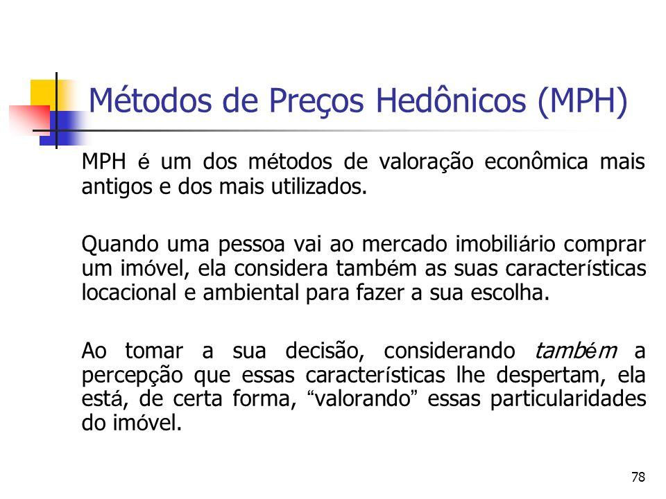 78 Métodos de Preços Hedônicos (MPH) MPH é um dos m é todos de valora ç ão econômica mais antigos e dos mais utilizados. Quando uma pessoa vai ao merc