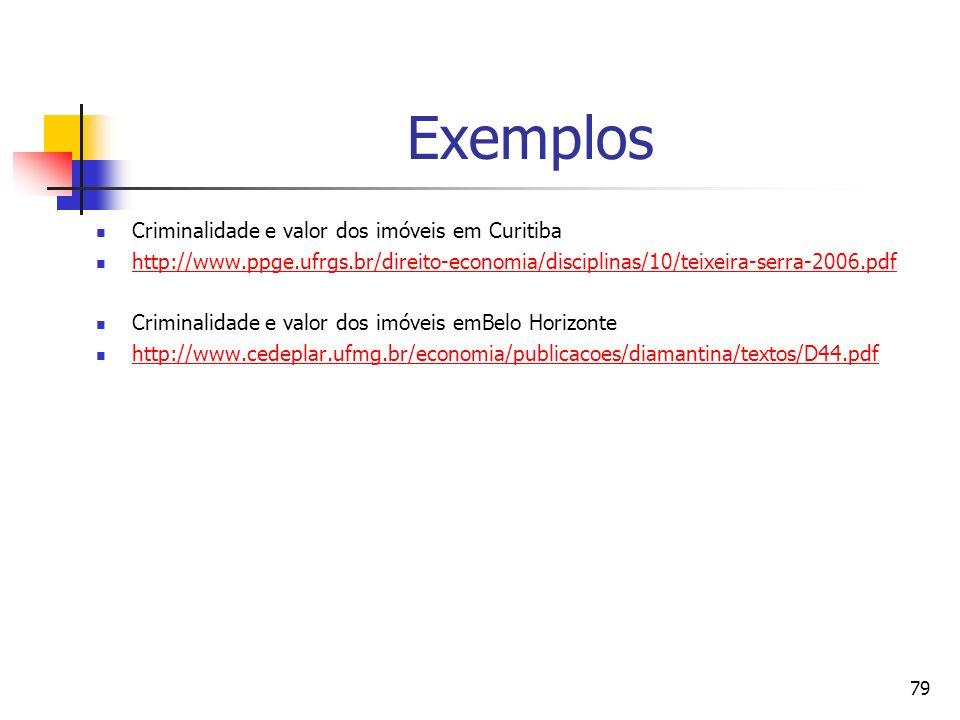 79 Exemplos Criminalidade e valor dos imóveis em Curitiba http://www.ppge.ufrgs.br/direito-economia/disciplinas/10/teixeira-serra-2006.pdf Criminalida