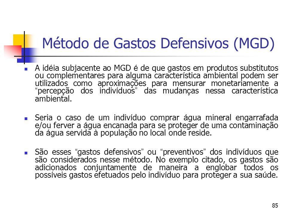 85 Método de Gastos Defensivos (MGD) A id é ia subjacente ao MGD é de que gastos em produtos substitutos ou complementares para alguma caracter í stic