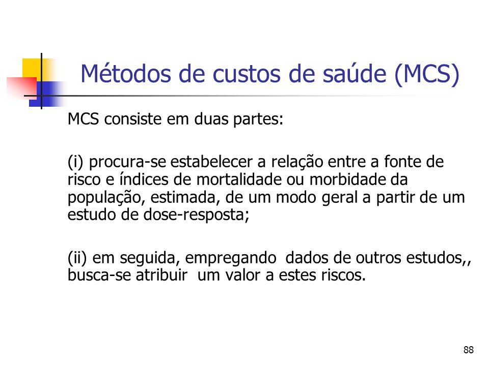 88 Métodos de custos de saúde (MCS) MCS consiste em duas partes: (i) procura-se estabelecer a relação entre a fonte de risco e índices de mortalidade