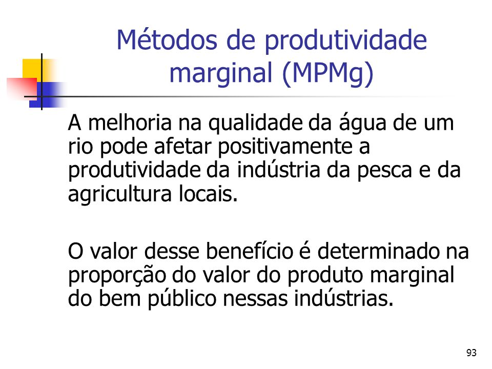 93 Métodos de produtividade marginal (MPMg) A melhoria na qualidade da água de um rio pode afetar positivamente a produtividade da indústria da pesca e da agricultura locais.