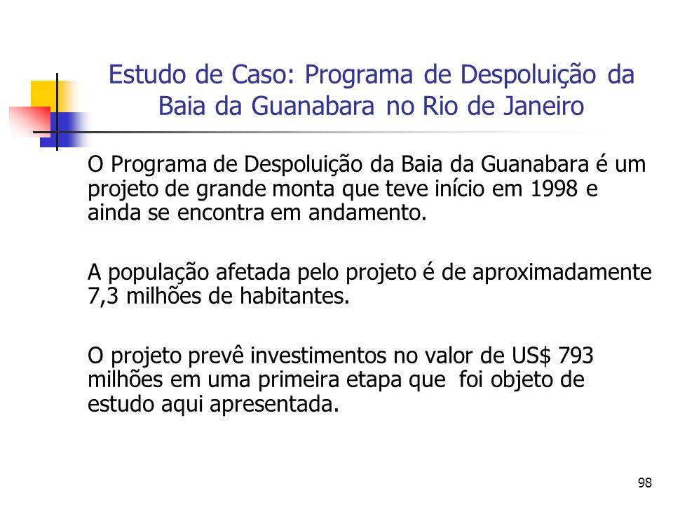 98 Estudo de Caso: Programa de Despoluição da Baia da Guanabara no Rio de Janeiro O Programa de Despoluição da Baia da Guanabara é um projeto de grande monta que teve início em 1998 e ainda se encontra em andamento.