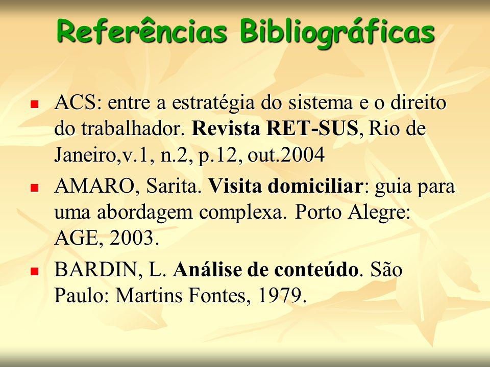 Referências Bibliográficas ACS: entre a estratégia do sistema e o direito do trabalhador. Revista RET-SUS, Rio de Janeiro,v.1, n.2, p.12, out.2004 ACS
