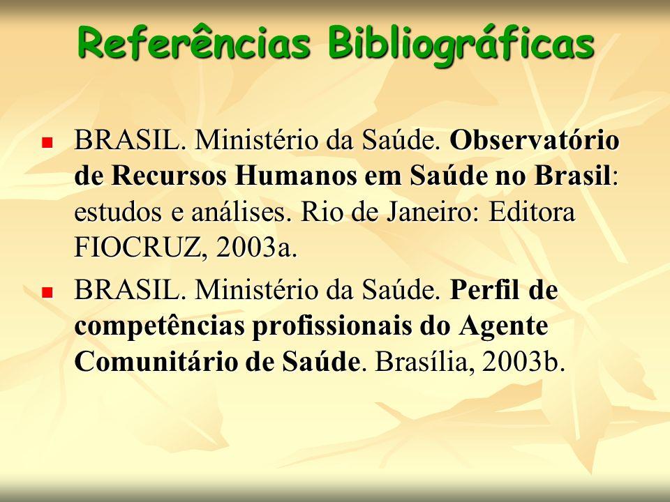 Referências Bibliográficas BRASIL. Ministério da Saúde. Observatório de Recursos Humanos em Saúde no Brasil: estudos e análises. Rio de Janeiro: Edito