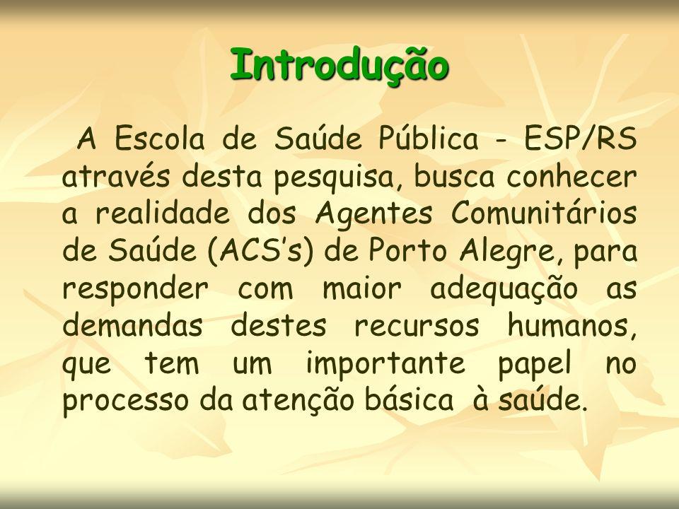 Introdução A Escola de Saúde Pública - ESP/RS através desta pesquisa, busca conhecer a realidade dos Agentes Comunitários de Saúde (ACSs) de Porto Ale