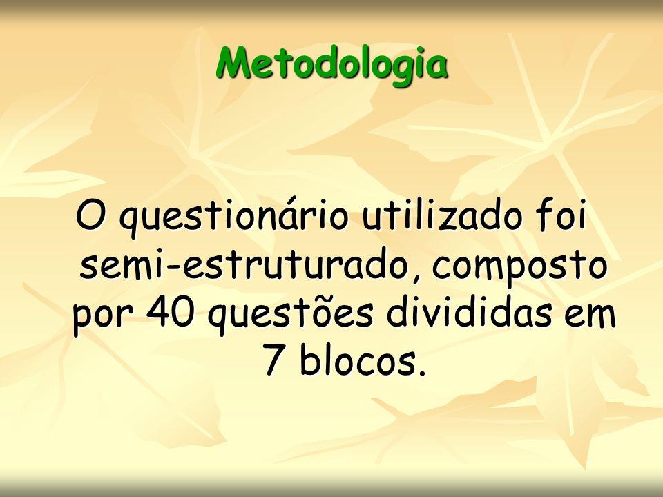 Metodologia 7 blocos: I-Identificação II - Relações com a comunidade III - Educação permanente (Treinamentos/ Cursos) IV - Rotina de trabalho (Papel) V - Relações de trabalho VI - Perspectivas atuais VII - Perspectivas futuras