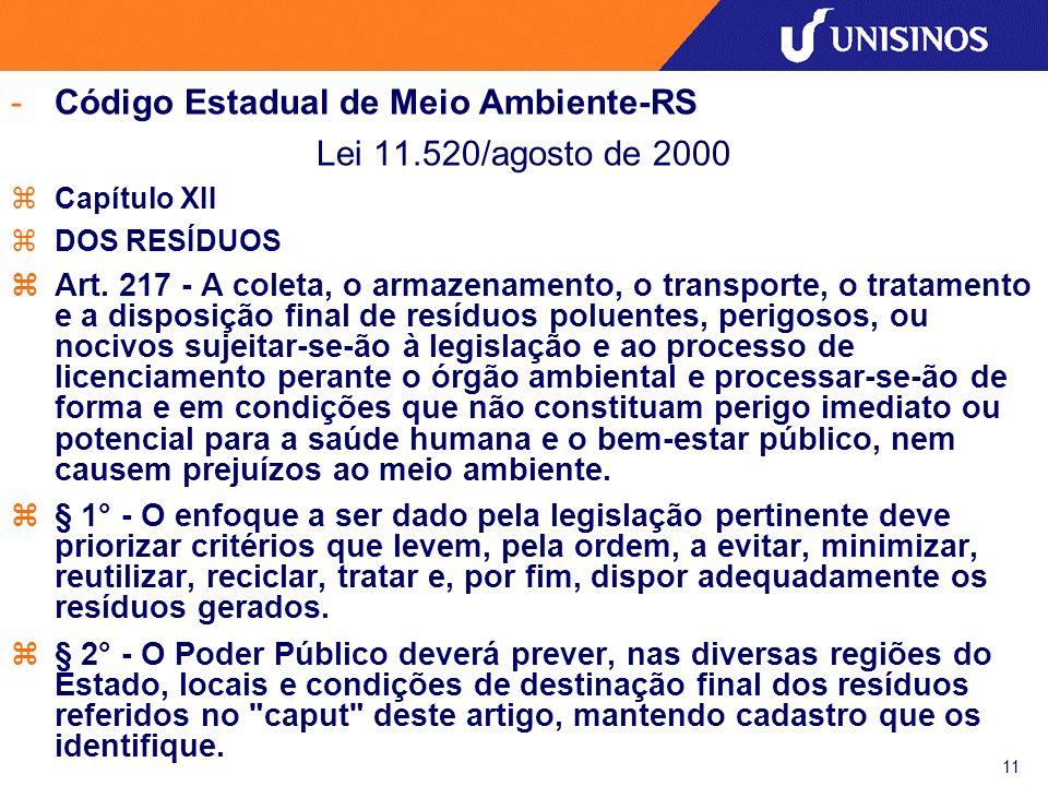 12 -Código Estadual de Meio Ambiente-RS Lei 11.520/agosto de 2000 zCapítulo XII zDOS RESÍDUOS zArt.