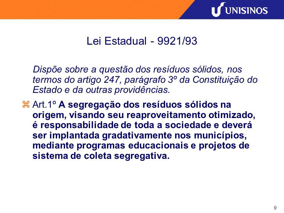 10 Decreto Estadual- 38 356/98 Regulamenta a Lei 9921/93.