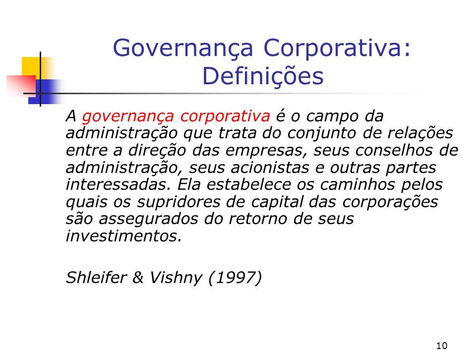 10 Governança Corporativa: Definições A governança corporativa é o campo da administração que trata do conjunto de relações entre a direção das empres