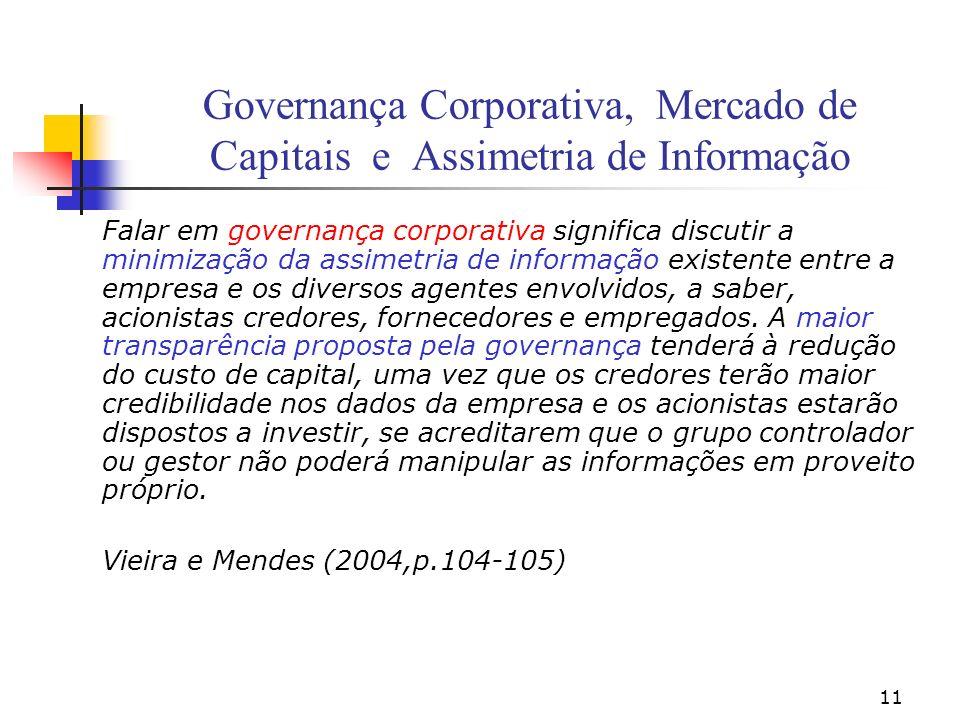 11 Governança Corporativa, Mercado de Capitais e Assimetria de Informação Falar em governança corporativa significa discutir a minimização da assimetr
