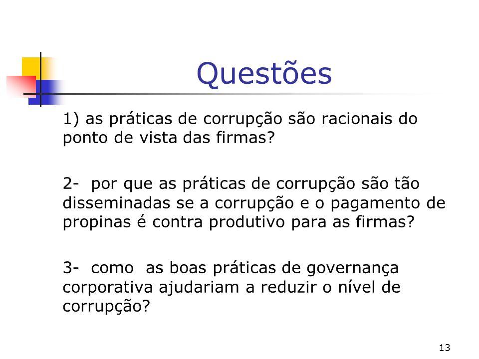 13 Questões 1) as práticas de corrupção são racionais do ponto de vista das firmas? 2- por que as práticas de corrupção são tão disseminadas se a corr