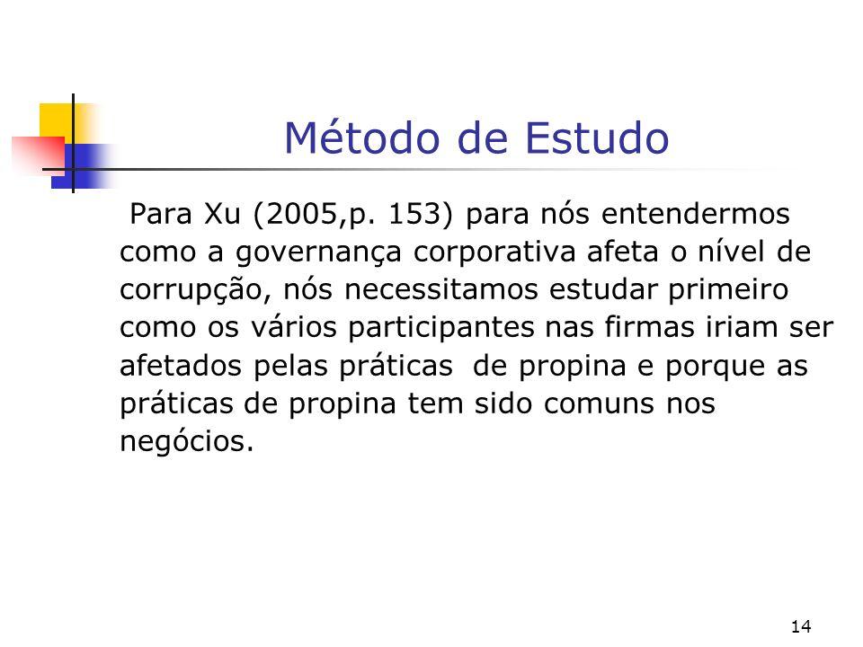 14 Método de Estudo Para Xu (2005,p. 153) para nós entendermos como a governança corporativa afeta o nível de corrupção, nós necessitamos estudar prim