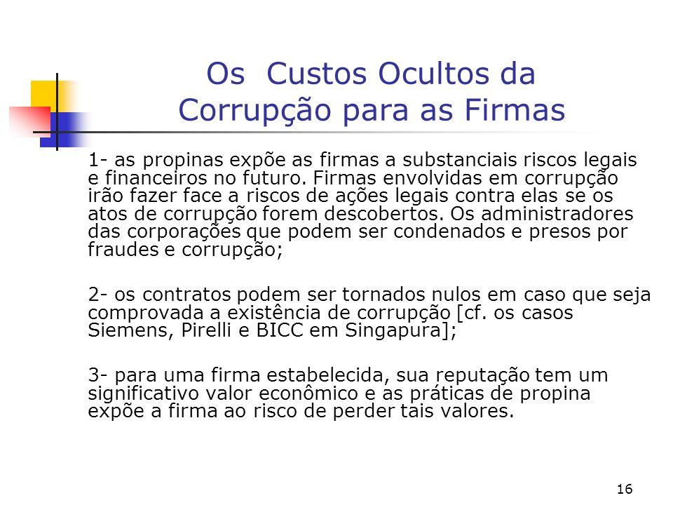16 Os Custos Ocultos da Corrupção para as Firmas 1- as propinas expõe as firmas a substanciais riscos legais e financeiros no futuro. Firmas envolvida