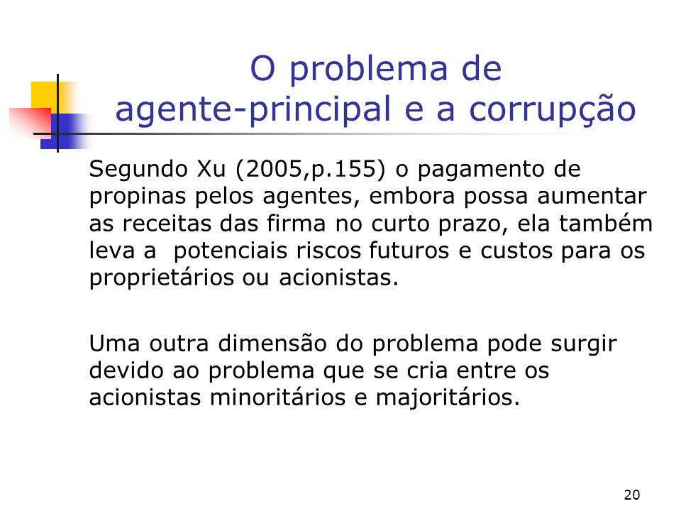 20 O problema de agente-principal e a corrupção Segundo Xu (2005,p.155) o pagamento de propinas pelos agentes, embora possa aumentar as receitas das f