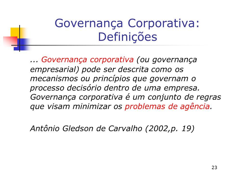 23 Governança Corporativa: Definições... Governança corporativa (ou governança empresarial) pode ser descrita como os mecanismos ou princípios que gov