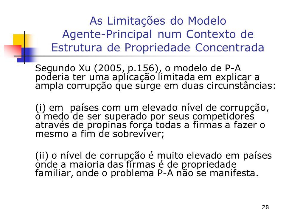 28 As Limitações do Modelo Agente-Principal num Contexto de Estrutura de Propriedade Concentrada Segundo Xu (2005, p.156), o modelo de P-A poderia ter