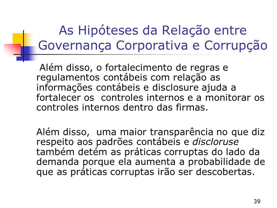 39 As Hipóteses da Relação entre Governança Corporativa e Corrupção Além disso, o fortalecimento de regras e regulamentos contábeis com relação as inf