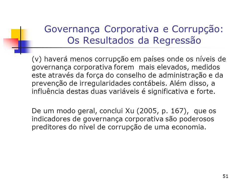 51 Governança Corporativa e Corrupção: Os Resultados da Regressão (v) haverá menos corrupção em países onde os níveis de governança corporativa forem