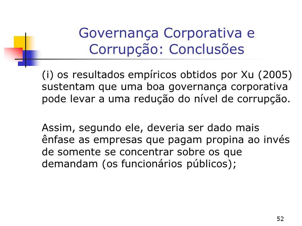 52 Governança Corporativa e Corrupção: Conclusões (i) os resultados empíricos obtidos por Xu (2005) sustentam que uma boa governança corporativa pode