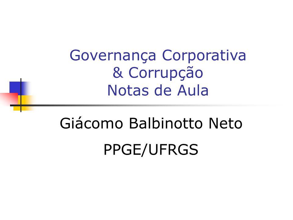 Giácomo Balbinotto Neto PPGE/UFRGS Governança Corporativa & Corrupção Notas de Aula