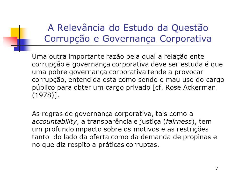 7 A Relevância do Estudo da Questão Corrupção e Governança Corporativa Uma outra importante razão pela qual a relação ente corrupção e governança corp