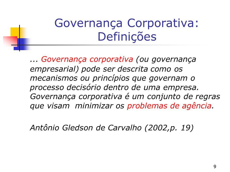 9 Governança Corporativa: Definições... Governança corporativa (ou governança empresarial) pode ser descrita como os mecanismos ou princípios que gove