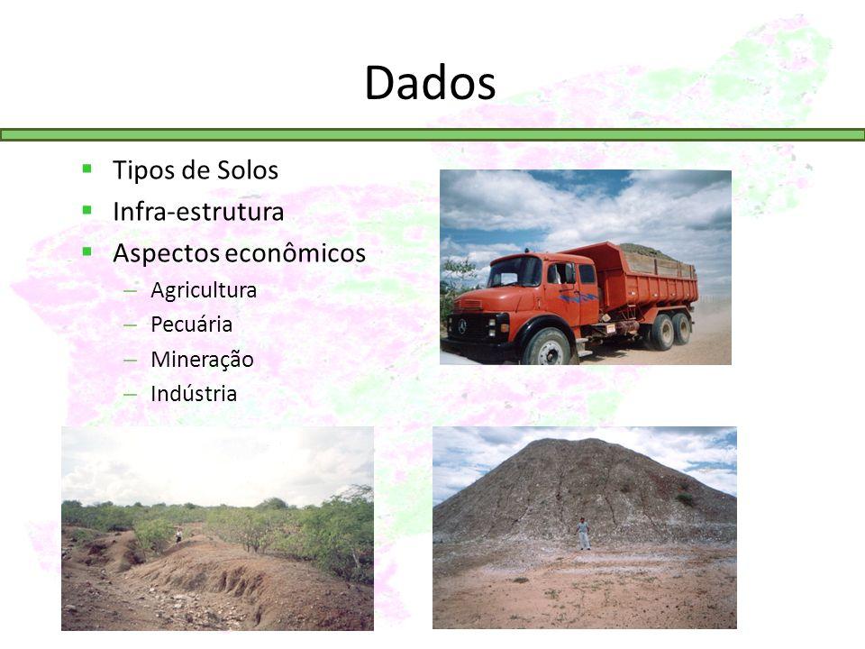 Dados Tipos de Solos Infra-estrutura Aspectos econômicos – Agricultura – Pecuária – Mineração – Indústria