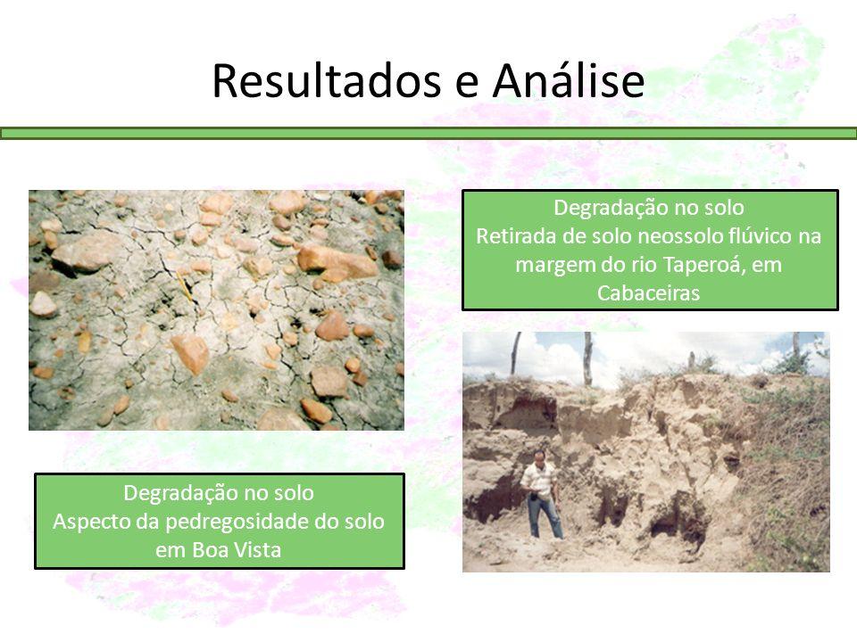 Resultados e Análise Degradação no solo Aspecto da pedregosidade do solo em Boa Vista Degradação no solo Retirada de solo neossolo flúvico na margem do rio Taperoá, em Cabaceiras