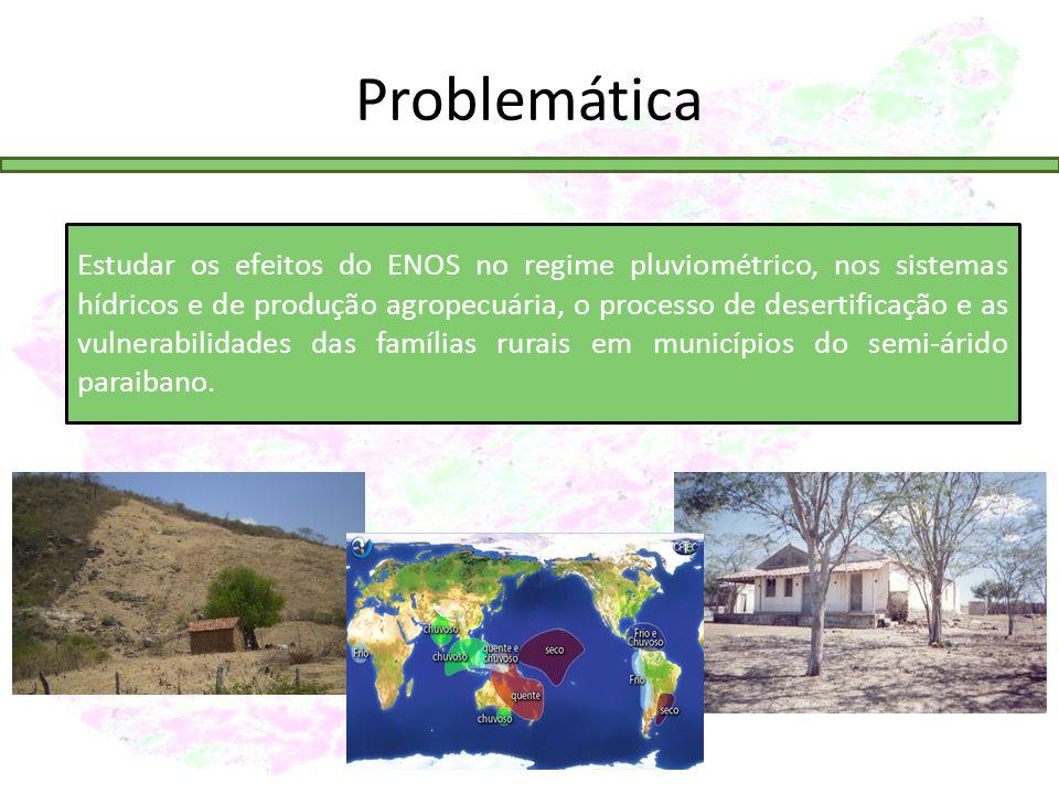 Problemática Estudar os efeitos do ENOS no regime pluviométrico, nos sistemas hídricos e de produção agropecuária, o processo de desertificação e as vulnerabilidades das famílias rurais em municípios do semi-árido paraibano.