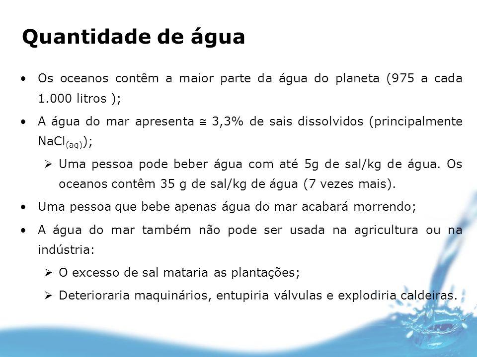 Quantidade de água Os oceanos contêm a maior parte da água do planeta (975 a cada 1.000 litros ); A água do mar apresenta 3,3% de sais dissolvidos (pr