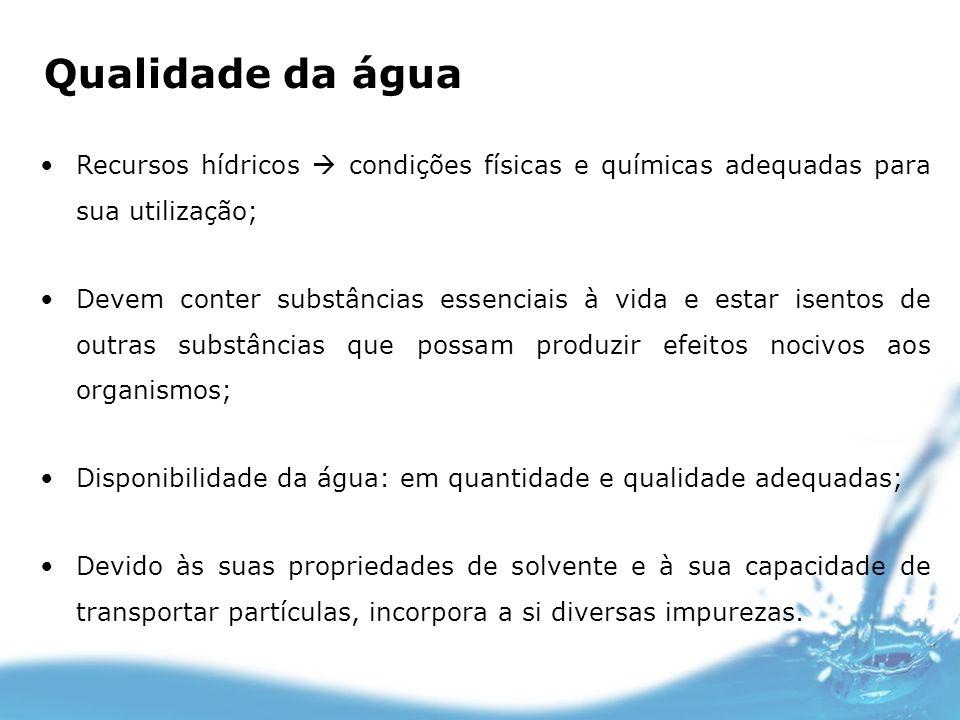 Qualidade da água Recursos hídricos condições físicas e químicas adequadas para sua utilização; Devem conter substâncias essenciais à vida e estar ise