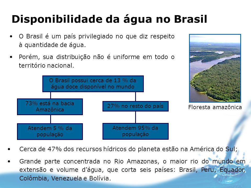 Disponibilidade da água no Brasil O Brasil é um país privilegiado no que diz respeito à quantidade de água. Porém, sua distribuição não é uniforme em